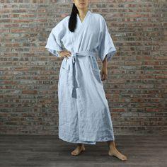 Soft Linen Unisex Long Kimono Style Bathrobe