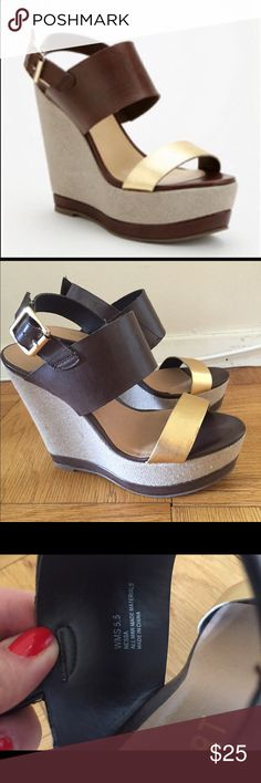 REPORT NESSA PLATFORM WEDGE SANDALS Report NESSA platform sandals in soft vegan leather. Size 5.5. Canvas wrapped platform wedge and a contrast toe strap. Adjustable buckle ankle closure. Rubber sole. Excellent condition worn only once for just a few hours. Report Shoes Sandals