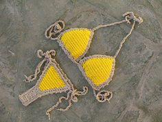 Brazilian bikini in yellow and gold Thong bikini Micro by MarryG
