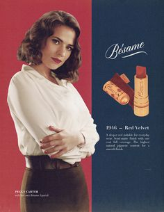 """ @HayleyAtwell: Here you go ladies, Peggy's lipstick is Besame in Red Velvet x """