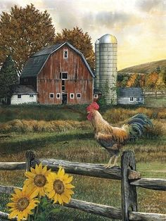 Early Rooster by Ed Wargo Country Farm Red Barn Framed Art Print Framed Country Barns, Country Life, Country Living, Primitive Country, Country Farmhouse, Country Music, Country Roads, Barn Pictures, Farm Art