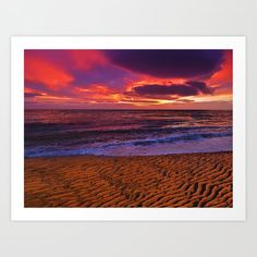 Impressive sunset at sandy beach. Art Print by kostaspavlis Beach Print, From The Ground Up, Buy Frames, All Over The World, Printing Process, Gallery Wall, Tapestry, Art Prints, Sunset