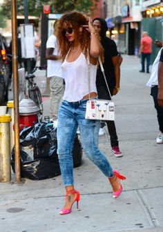 In G-Star RAW for the Oceans jeans, leaving Coppelia restaurant in New York City's Soho.