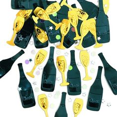 Sort og Guld Champagne Bordkonfetti - Pakke med 14 gr. Flot konfetti til nytårsbordet!