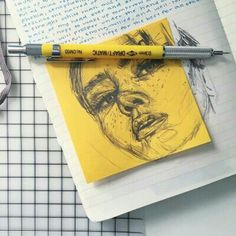 #Postit #girl #face #yellow #grunge #sketchbook #indie #draw