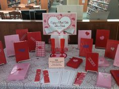 Blind Date with a Book...I like that they made up bookmarks to take too and maybe have book review cards too!