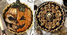 """Je október a to znamená že sa blížia ako Dušičky, tak aj americký sviatok Halloween. Druhý menovaný sviatok je známy maskami a typickými ozdobami. Istý pekár sa rozhodol piecť halloweenske koláče, sú naozaj veľmi zaujímavé a strašidelné. Trúfli by ste si upiecť takéto pekárske """"umelecké dielo""""? Zdroj:Boredpanda.com Príspevok Tipy na dokonalé """"strašidelné koláče"""" zobrazený najskôr SvetKuriozit.sk - svet kuriozit. Scream Halloween, Spooky Halloween, Halloween Treats, Jessica Clark, Pies Art, Pie Tops, Polymer Clay Figures, Snack Recipes, Snacks"""