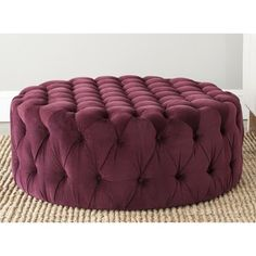 Add a touch of old Hollywood glamour to your living space with this statement-making Bordeaux ottoman. This round upholstered ottoman is comfortable as well as stylish and can be used as extra seating