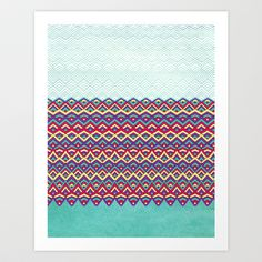 Horizons Art Print by Pom Graphic Design  - $18.00 #ethnic #native #pattern #aztec #multicolor #home #decor #poster #teal