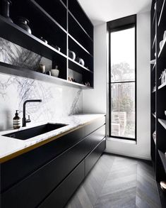 New kitchen backsplash designs butler pantry ideas Kitchen Butlers Pantry, Kitchen Pantry Design, Butler Pantry, Kitchen Cabinetry, Kitchen Layout, Kitchen Backsplash, Marble Floor Kitchen, Cabinets, Black Kitchens