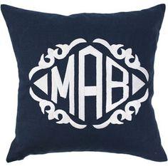 Navy and white monogram pillow