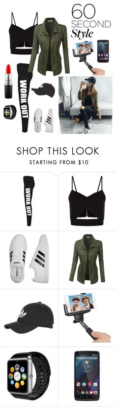 """Fashion in 60"" by kotnourka ❤ liked on Polyvore featuring WearAll, Racil, adidas, LE3NO, Topshop, Kitvision, Motorola, MAC Cosmetics, 60secondstyle and PVShareYourStyle"