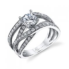 Stylish Round Brilliant Quadruple Shank Diamond Engagement Ring