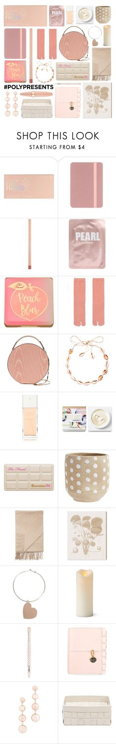 """#PolyPresents: Stocking Stuffers"" by foundlostme ❤ liked on Polyvore featuring beauty, Targus, Maybelline, Lapcos, Too Faced Cosmetics, Eddie Borgo, Chanel, Teeez, Sofiacashmere and Oliver Gal Artist Co."