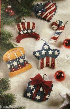 Bucilla PATRIOTIC SPIRIT Felt  Ornament Kit  Set of 6, I love the star and the heart