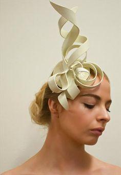 Bespoke Ivory Fascinator/Headpiece made using Wonderflex