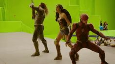 "dcfilms: "" Jason Momoa, Gal Gadot, and Ezra Miller on the set of Justice League "" Jason Momoa, Aquaman, Justice League, Transformers, Movie Bloopers, Disney Bloopers, Nananana Batman, Gifs, Cinema"