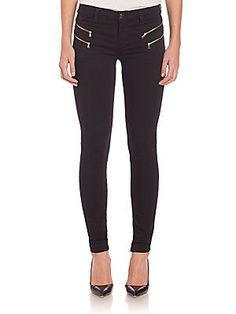 J BRAND Carina Double Zip Skinny Pants - Seriously Black - Size 2