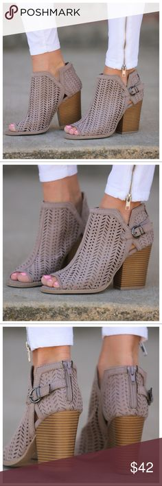 "Taupe die cut open toe buckle booties Adorable!  Goes with just about anything.  Model wearing size 7 (she is a 7.5/8) so they run a 1/2 full size big. Heel height: 4"" Shoes Ankle Boots & Booties"