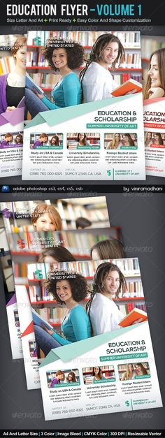 Education Flyer | Volume 1 #GraphicRiver Education Flyer | Volume 1 Specs : adobe photoshop cs3, cs4, cs5, cs6 Resolution 300 dpi Color CMYK Size Letter And A4 with Image Bleed Photo not incuded on download files Fonts : Arial : Standard Font Nexa Free Font : .fontfabric /nexa-free-font/ Created: 8September13 GraphicsFilesIncluded: PhotoshopPSD Layered: Yes MinimumAdobeCSVersion: CS3 PrintDimensions: 8.5x11 Tags: advertising #banner #brochure #business #campaign #clean #consultant #corporate…