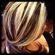 Chunky blonde highlights on dark hair                                                                                                                                                                                 More
