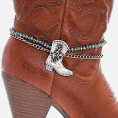 Western Texas Cowboy Boot Chain Turquoise Cowgirl ankle anklet Jewelry Rodeo #Uniklook