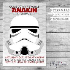 Storm Trooper invitation Star wars birthday Star by PBJnCompany