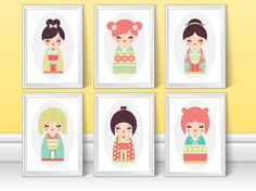 Set of 6 prints of colourful Japanese Kokeshi Dolls, perfect for any little girls room.  Purchasing as the set saves you 50% off the individual price.  Lots more prints for kids rooms and nurseries here: www.etsy.com/uk/shop/NordicDesignHouse?ref=hdr_shop_menu&section_id=19772977  Most of my prints are now available for you to print at home in my other shop here: www.etsy.com/uk/shop/NordicDesignHouseCo  MY PRINTS  Prints are produced on a professional Canon printer using Canon dye based…