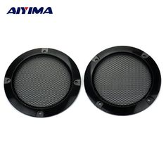 """[ 8% Off ] 2pcs 3"""" Inch Black Circle Speaker Decorative Circle with Protective Grille DIY free shipping"""