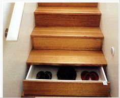 really clever idea utilizing otherwise dead space for storage.  You could do something really cool with the fronts of them, too.