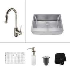 All-in-One Farmhouse Apron Front Stainless Steel (Silver) 30 in. Single Bowl Kitchen Sink with Faucet in Satin Nickel