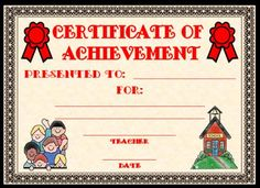 sunday school certificates free printable | Printable Student Awards: Certificate of Achievement