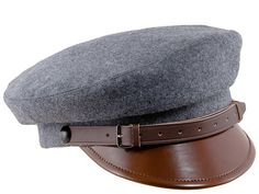 MACIEJOWKA MODEL 1 - traditional Polish cap similar to Fiddler Breton Greek  Fisherman - grey   brown lacquered peak a65da537d2a
