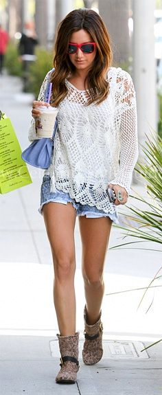 Ashley Tisdale - Free People Pacifica Crochet Hooded Sweater