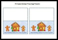 Free Printable Christmas Treat Bag Toppers for Pre-K and Kindergarten classroom parties via www.pre-kpages.com