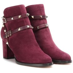 Valentino Rockstud Suede Ankle Boots (€1.135) ❤ liked on Polyvore featuring shoes, boots, ankle booties, purple, purple boots, suede bootie, suede booties, short boots and bootie boots