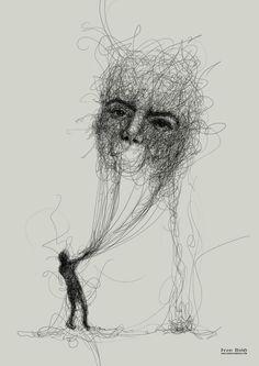 Dark Art Drawings, Art Drawings Sketches, Art Sketches, Abstract Pencil Drawings, Scribble Art, Kunst Poster, Beauty Illustration, Sad Art, Arte Horror