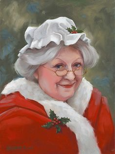"Mrs. Claus giclee print on canvas Christmas art 9""x12"""