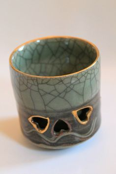 SOMAYAKI Soma Ware Japan Double Wall Hearts Tea Cup Gold Horse Green Crackle