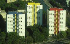 High-rise apartment blocks in East Berlin, Germany  Residential tower blocks next to Alexanderplatz in East Berlin