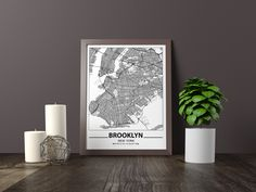 Excited to share the latest addition to my #etsy shop: Brooklyn map print, Minimalistic wall art poster, New York gifts, Birthday Gift, For father, Father