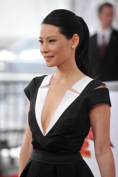 Lucy Liu - great look also, both hair and jewellery and dress. Seem quite DC