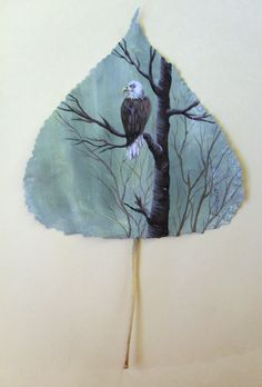 Eagle...painted on a leaf by ~Arteestique