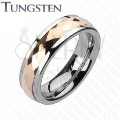 Wolframový prsten - otáčivý středový pás s růžovým zlatem