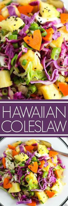 Hawaiian Coleslaw has the traditional ingredients of cabbage and carrots, but it's given a tropical twist with the addition of fresh pineapple chunks, sesame seeds, and a ginger-soy lime vinaigre (Paleo Soup Cabbage) Paleo Soup, Hawaiian Coleslaw, Pineapple Coleslaw, Red Cabbage Coleslaw, Hawaiian Salad, Hawaiian Luau, Hawaiian Dishes, Hawaiian Recipes, Healthy Recipes