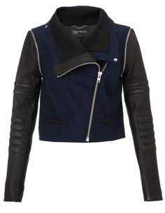 Navy Novelty Leather Jacket | Yigal Azrouël | Avenue32