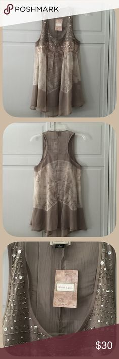 NWT Romantic Sequined Tan Semi Sheer Tunic This is so light and Flowy! It is so beautiful! I love this top! The detailing and all the sequins are simply gorgeous! About A Girl Tops Tunics