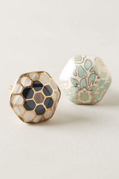 Bedroom Nightstands: I like either of these, but maybe teal better?River Reflection Knob - anthropologie.com