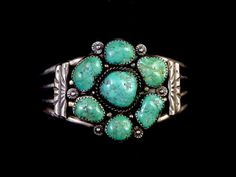 45g Vintage Old Pawn Navajo Sterling Silver Squash Blossom Cluster Cuff Bracelet w 7 Dreamy Fox Mine Turquoise  Tumbled Nuggets! GORGEOUS!