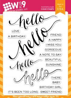 Hand Lettered Hello - WPlus9 Design Studio, LLC